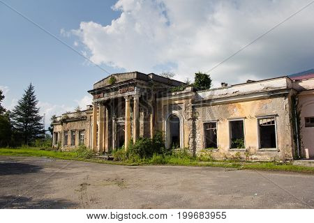 Abandoned ruined railway station in Tquarchal (Tkvarcheli), Abkhazia, Georgia