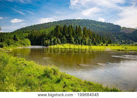 Mountain landscape with river in Carpathians, Ukraine