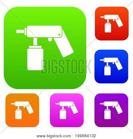Spray aerosol can bottle with a nozzle set icon in different colors isolated vector illustration. Premium collection