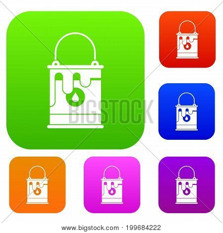 Bucket with paint set icon in different colors isolated vector illustration. Premium collection