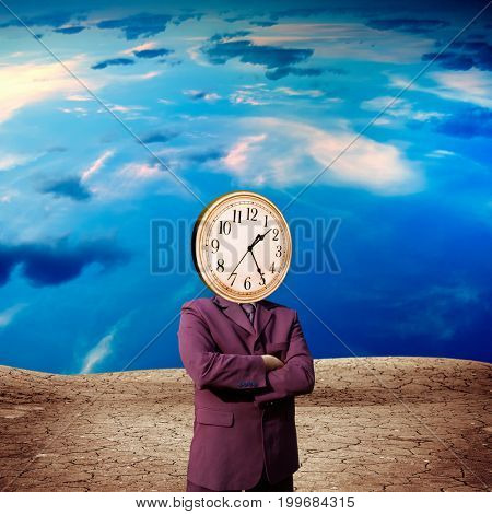 conceptual image of businessman with clock face on landscape