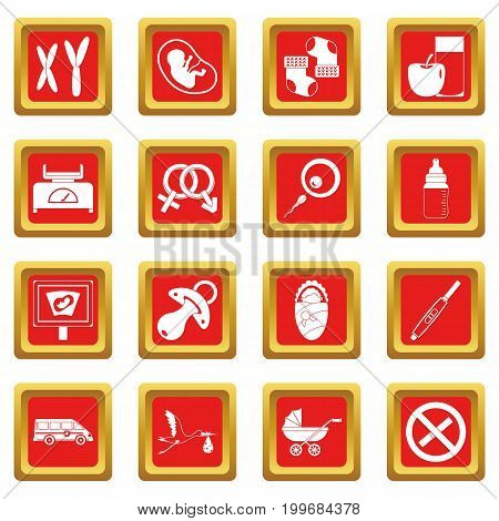 Pregnancy symbols icons set in red color isolated vector illustration for web and any design