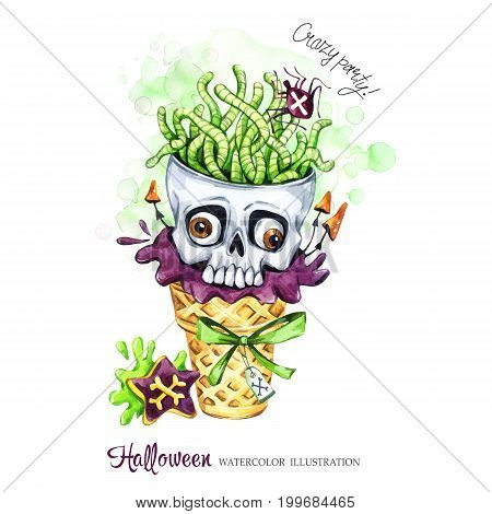Watercolor illustration. Halloween holidays card. Hand painted waffle cone, skull with brains of worms. Funny ice cream dessert. Poisonous treat. Magic, symbol of horror. Ready for print.