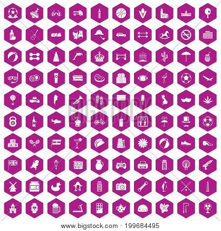 100 ball icons set in violet hexagon isolated vector illustration