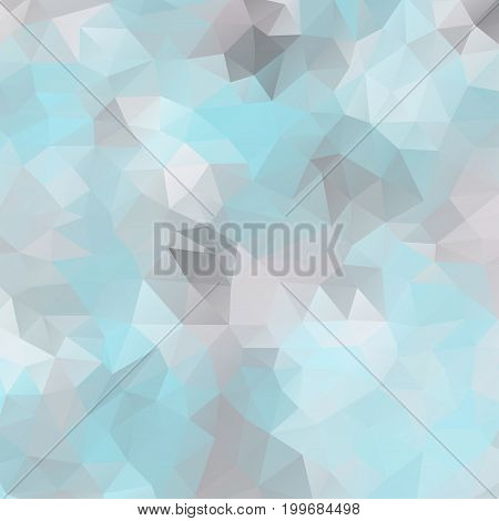 Abstract mosaic background of triangular polygons. Geometrical background in blue colors. Frosty vector illustration