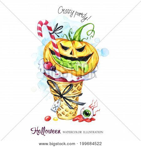 Watercolor illustration. Halloween holidays card. Hand painted waffle cone, pumpkin with poisonous stuffing, eye . Funny ice cream dessert. Poisonous treat. Magic, symbol of horror. Ready for print.