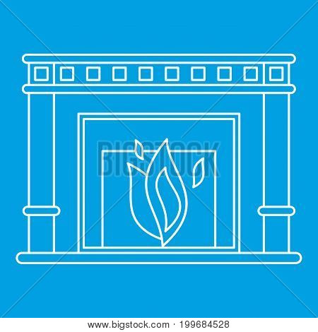 Fireplace icon blue outline style isolated vector illustration. Thin line sign