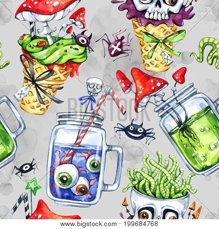 Watercolor seamless pattern, cone with skull, glass cups with potion, eyes, amanitas. Halloween holiday illustration. Funny food and drink. Poisonous treat. Magic, symbol of horror. Baby background.