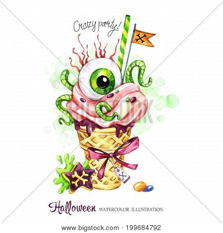 Watercolor illustration. Halloween holidays card. Hand painted waffle cone, human eye with cream and worms. Funny ice cream dessert. Poisonous treat. Magic, symbol of horror. Ready for print.