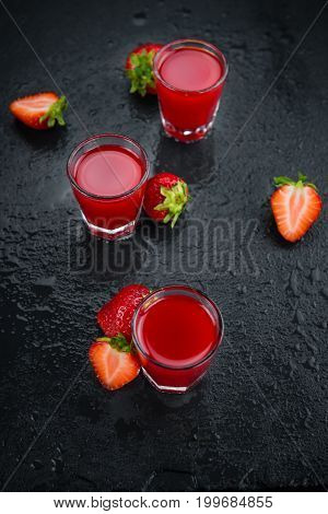 Rustic Slate Slab With Strawberry Liqueur, Selective Focus