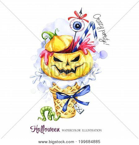Watercolor illustration. Halloween holidays card. Hand painted waffle cone, pumpkin with blood, eye . Funny ice cream dessert. Poisonous treat. Magic, symbol of horror. Ready for print.