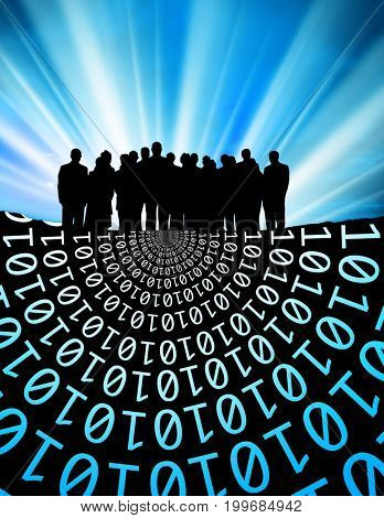 conceptual image of silhouetted group of business people and binary code over light beam