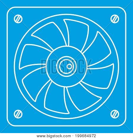 Computer fan cooler icon blue outline style isolated vector illustration. Thin line sign