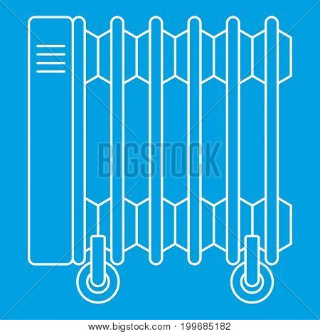 Electric oil heater icon blue outline style isolated vector illustration. Thin line sign
