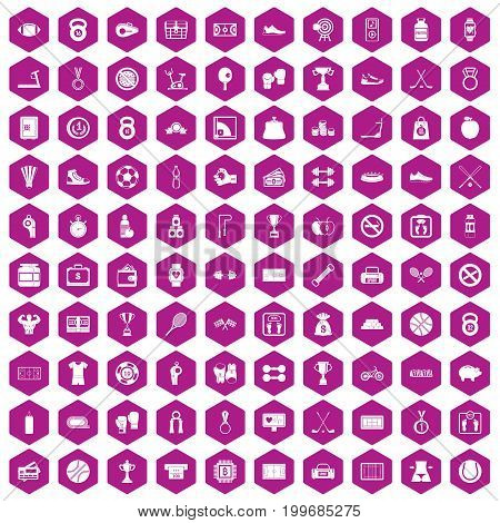 100 basketball icons set in violet hexagon isolated vector illustration