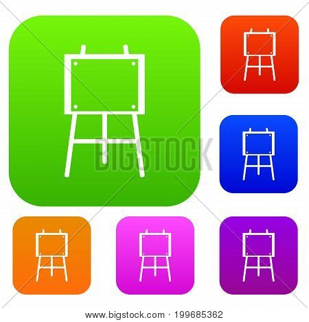 Wooden easel set icon in different colors isolated vector illustration. Premium collection
