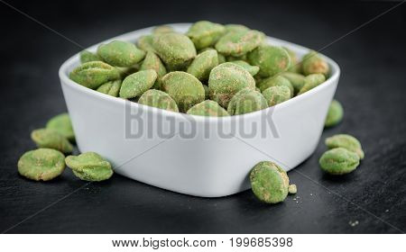 Portion Of Wasabi Coated Peanuts (selective Focus)