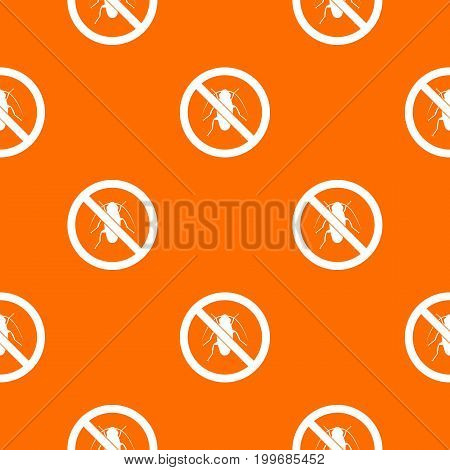 No cockroach sign pattern repeat seamless in orange color for any design. Vector geometric illustration