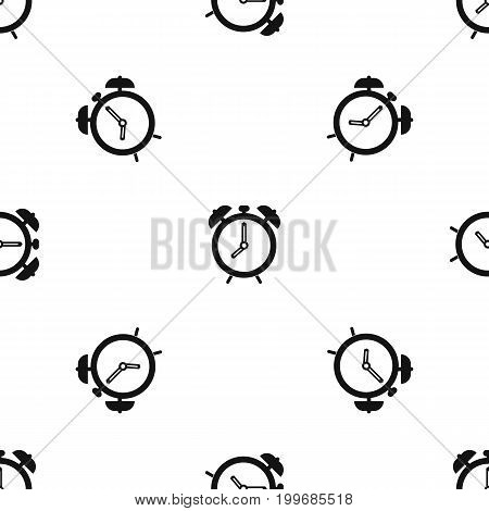 Alarm clock pattern repeat seamless in black color for any design. Vector geometric illustration