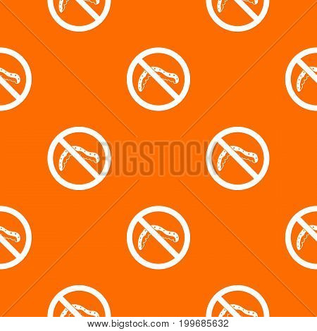 No caterpillar sign pattern repeat seamless in orange color for any design. Vector geometric illustration