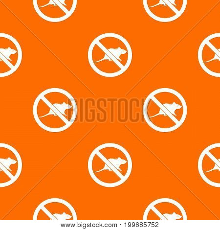 No rats sign pattern repeat seamless in orange color for any design. Vector geometric illustration