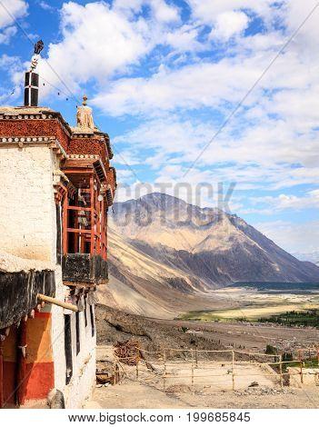 Diskit Buddhist Monastery in Nubra Valley in Kashmir, India