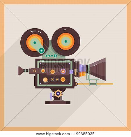 Retro Technology Icon Camcorder. Professional Video Camera. Flat vector illustration