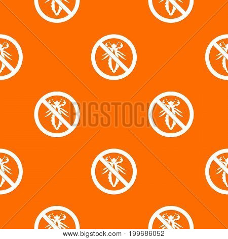 No louse sign pattern repeat seamless in orange color for any design. Vector geometric illustration