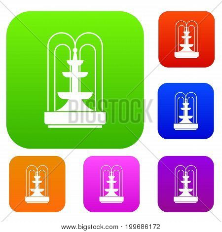 Fountain set icon in different colors isolated vector illustration. Premium collection
