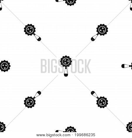 Rattle baby toy pattern repeat seamless in black color for any design. Vector geometric illustration