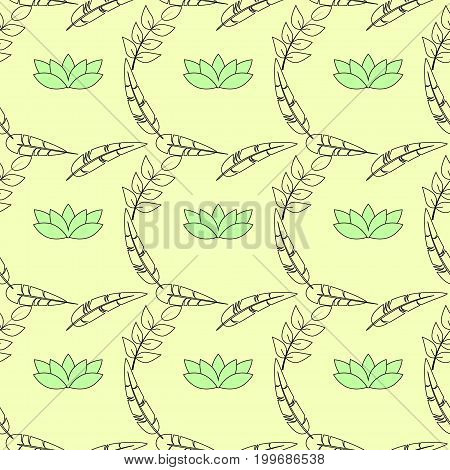 a background filled with stalks , feather, and lotus