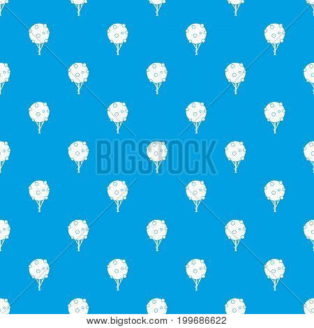 Tree with fruits pattern repeat seamless in blue color for any design. Vector geometric illustration