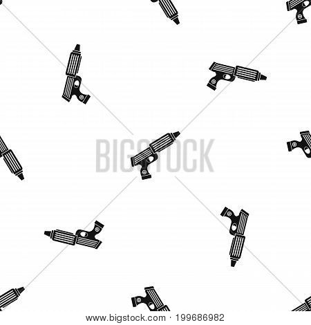 Plastic gun toy pattern repeat seamless in black color for any design. Vector geometric illustration