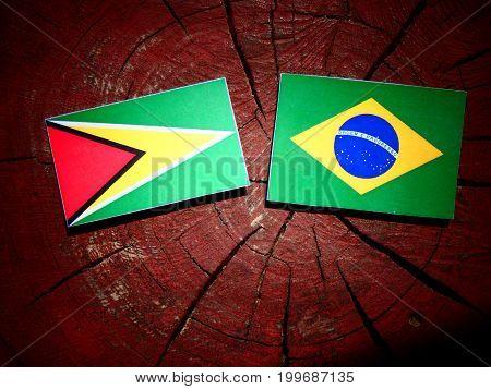 Guyana Flag With Brazilian Flag On A Tree Stump Isolated