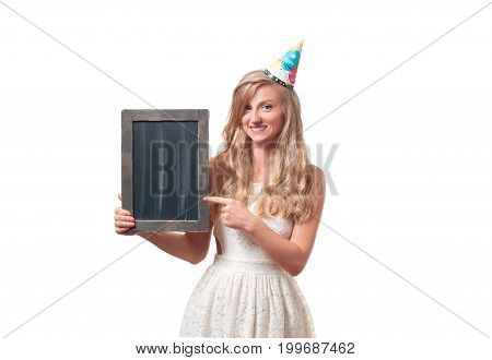 Beautiful Happy Girl With Chalk Board At Celebration Birthday Party.