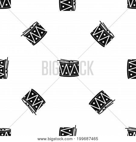 Drum and drumsticks pattern repeat seamless in black color for any design. Vector geometric illustration