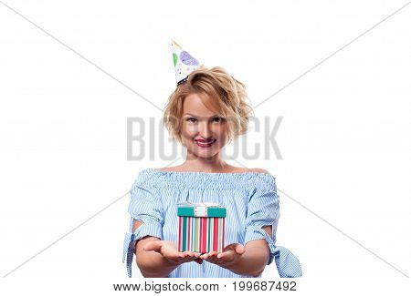 Beautiful Happy Woman With Gift Box At Celebration Birthday Party.