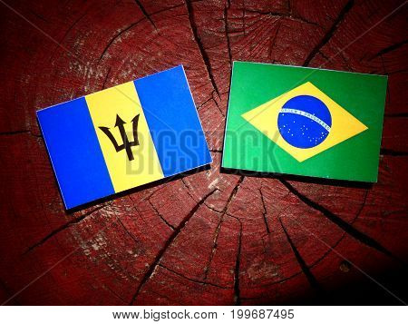 Barbados Flag With Brazilian Flag On A Tree Stump Isolated