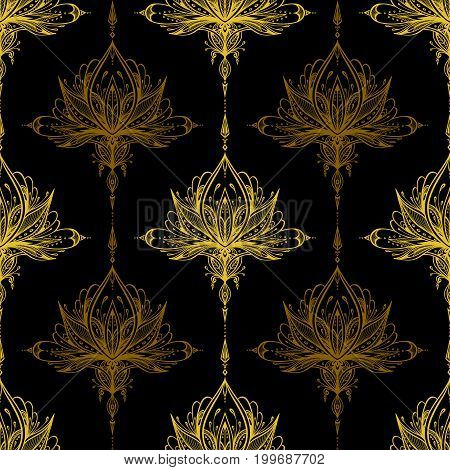 Abstract seamless pattern by decorative element gold on black for textile or perfume or for decorate gift paper  or for package