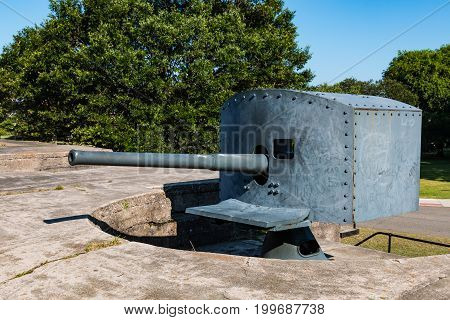 One of two remaining Endicott-era, 3-inch, rapid-fire guns at Battery Irwin at Fort Monroe in Hampton, Virginia.  Battery Irwin became obsolete by World War II as warfare technology improved.