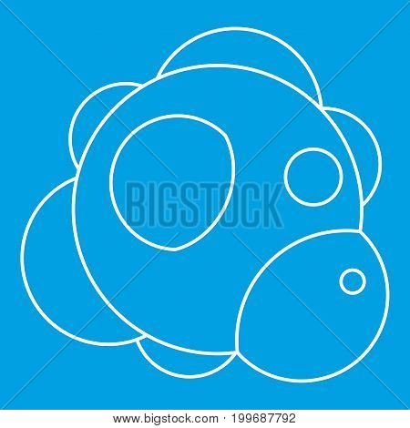 Molecule icon blue outline style isolated vector illustration. Thin line sign