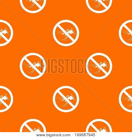 No mosquito sign pattern repeat seamless in orange color for any design. Vector geometric illustration