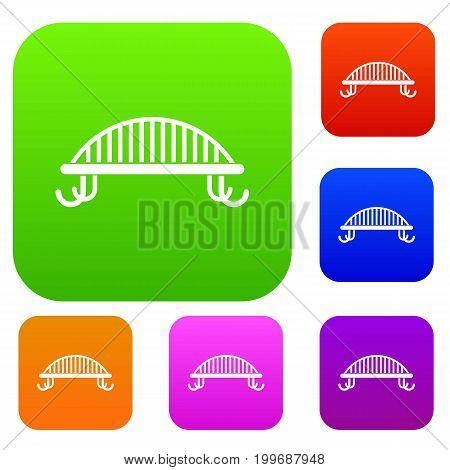 Bench with backrest set icon in different colors isolated vector illustration. Premium collection