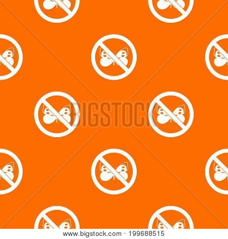 No butterfly sign pattern repeat seamless in orange color for any design. Vector geometric illustration