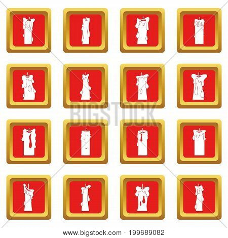 Candle forms icons set in red color isolated vector illustration for web and any design