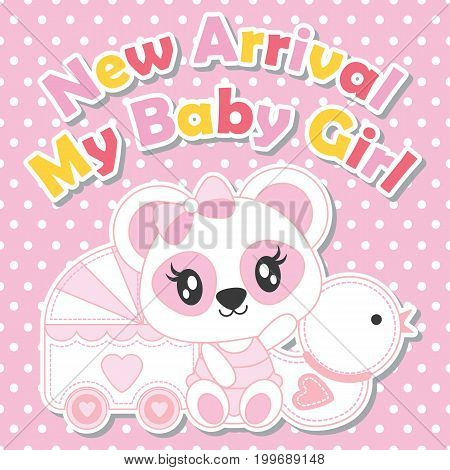 Cute baby panda with duck toy and baby cart vector cartoon illustration for baby shower card design, kid t shirt design, and wallpaper