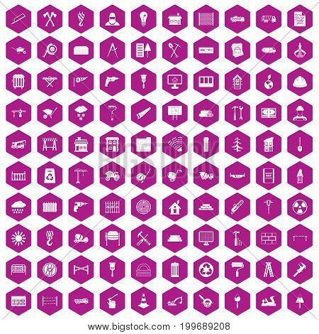 100 building materials icons set in violet hexagon isolated vector illustration