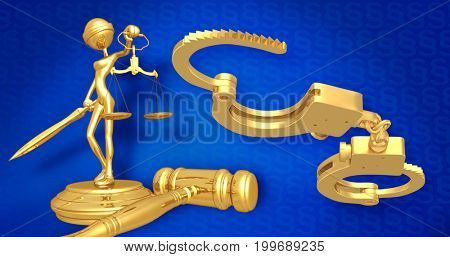 Handcuffs Concept Lady Justice The Original 3D Character Illustration