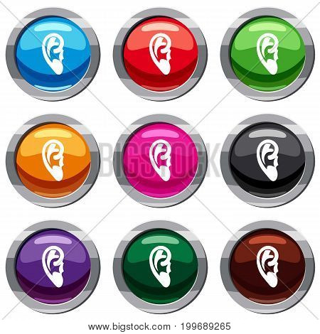 Ear set icon isolated on white. 9 icon collection vector illustration