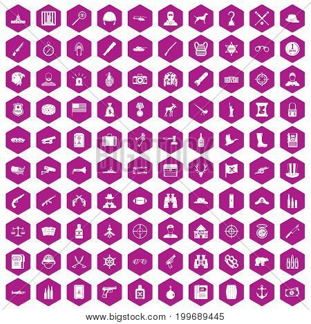 100 bullet icons set in violet hexagon isolated vector illustration